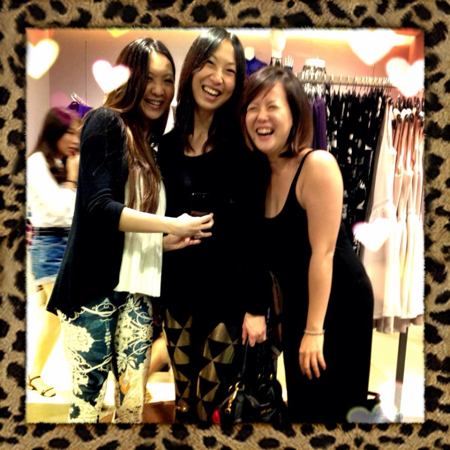 totally unrelated photo of me, Ange & Miss Folly cam-whoring in Topshop. But hey, everyone looks happy and I put leopard-print borders on it!