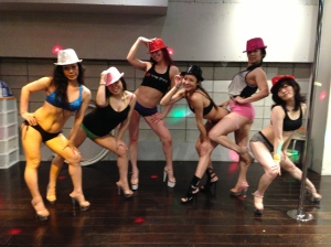 With new friends at Pole Dance Tokyo