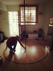All you need to create stage markings at home is a measuring tape, some duct tape, and a brother assistant. Heheh